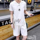 夏季棉麻套裝男亞麻短袖t恤潮流韓版中國風佛系社會一套2019新款T  【PINKQ】