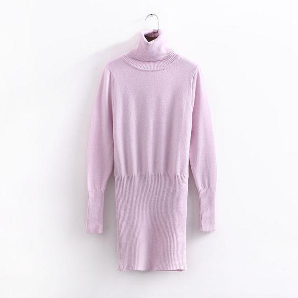 +C1638# 韓國秋冬韓版修身顯瘦加厚針織中長款包臀連衣裙女 &小咪的店&