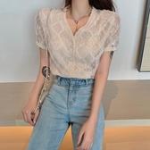 夏季短袖上衣新款針織開衫打底寬鬆修身小襯v領重工蕾絲雪紡衫女 智慧e家