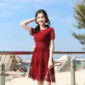 洋裝 修身顯瘦短袖氣質小清新鏤空蕾絲連身裙a字短裙 631-459巴黎春天