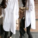 EASON SHOP(GU0553)bf風寬鬆前短後長大口袋大碼女裝長袖襯衫中長款長版白襯衫男友風風防曬衫外套M-3XL