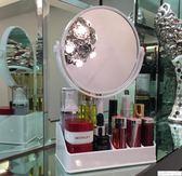 化妝鏡 日式化妝鏡化妝品口紅收納盒帶鏡子化妝盒台式鏡公主鏡寢室宿舍鏡 居優佳品igo