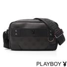 PLAYBOY- Checkerboard Rabbit 紳士棋盤兔系列 橫式斜背包-經典黑