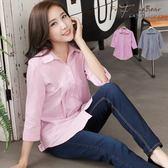 襯衫--U型車線壓摺設計完美小女人七分袖襯衫(灰.粉2L-5L)-I162眼圈熊中大尺碼◎