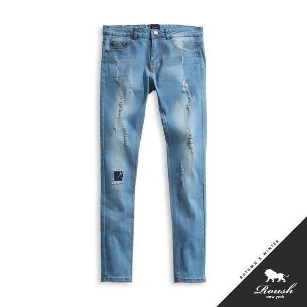 【Roush】破損水洗刷色淺色彈力牛仔褲 - 【625398】