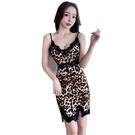 洋裝 小禮服 夏季新款性感拼蕾絲邊V領露背修身包臀雙開叉豹紋吊帶連身裙 韓風