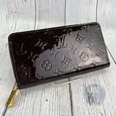 BRAND楓月 LOUIS VUITTON 路易威登 M90416 紫紅 漆皮 原花 拉鍊長夾 錢夾 錢包 發財夾