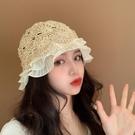 蕾絲草帽女春秋海邊沙灘帽薄款透氣防曬遮陽鏤空帽子夏季時尚網紅 夢幻小鎮