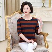媽媽夏裝上衣中年女裝短袖條紋針織T恤中老年寬鬆高含棉中袖T恤-ifashion