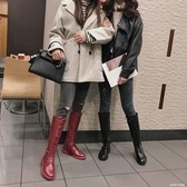 長筒馬丁靴女秋冬新款高筒騎士靴繫帶膝上靴平底網紅瘦瘦靴ATF  英賽爾