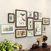 一面牆實木照片牆裝飾簡約現代相框牆客廳相片牆創意組合掛牆畫框XW