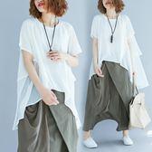 短袖T恤 純色前短后長 寬鬆套頭拼接層層圓領短袖T恤 雪紡衫