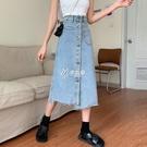 夏季新款百搭不規則牛仔半身裙女單排扣高腰中長裙顯瘦包臀裙快速出貨