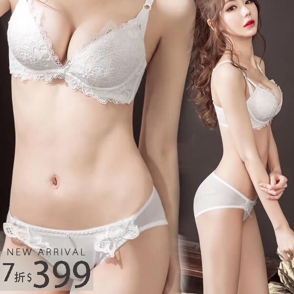 內衣 法式刺繡精緻成套內衣組(兩色:黑、白)-集中爆乳胸罩_A罩杯~B.C.D大罩杯_蜜桃洋房