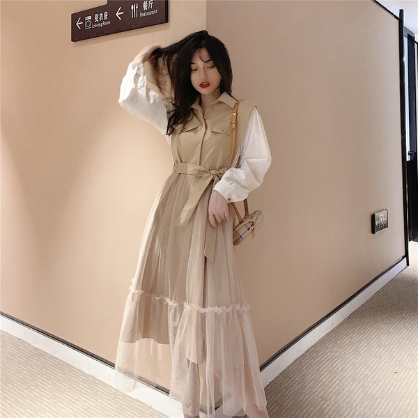 絕版出清 韓國風復古假兩件風衣拼接紗裙長袖洋裝