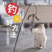 鋼絲羽毛逗貓棒長桿可替換頭貓玩具自嗨貓咪神器磨牙耐咬幼貓用品 夢幻小鎮
