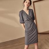 洋裝 五分燈籠袖連身裙知性條紋V領中長裙 降價兩天