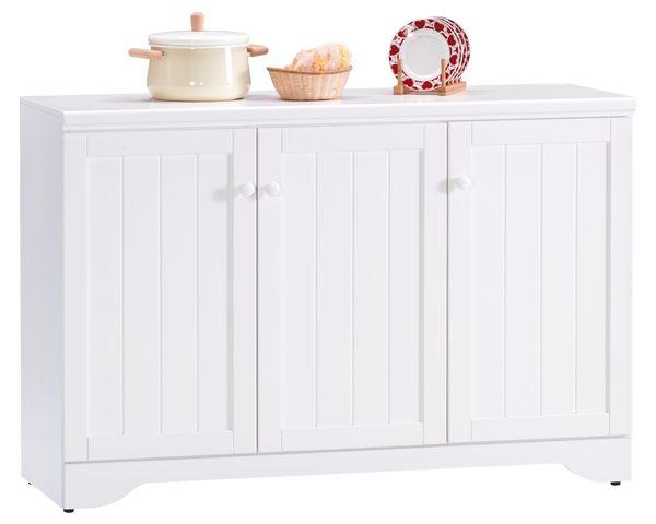 【森可家居】葛妮絲純白4尺餐櫃 7JX209-2 中島廚房櫃 碗盤收納 白色 英法式鄉村風