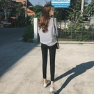 2020夏季新打底褲女外穿正韓學生開叉九分鉛筆褲修身顯瘦黑色小腳褲