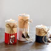 北歐ins復古燭臺木質圣誕裝飾品浪漫擺件歐式燭光晚餐咖啡廳