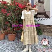 格子吊帶連身裙女裝夏季寬鬆中長款日系減齡學生背帶裙子【桃可可服飾】