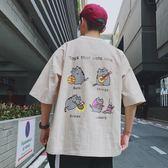夏季潮流日系男士短袖T恤原宿bf風百搭個性學生寬鬆圓領五分袖男
