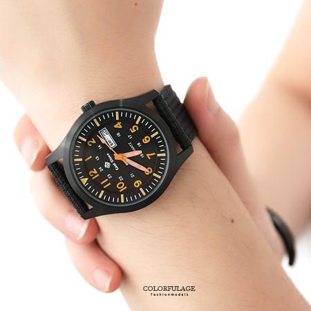 手錶 型男軍用橘色數字帆布腕錶 搭戴SEIKO精工VX43石英機芯 柒彩年代【NE1468】單支售價
