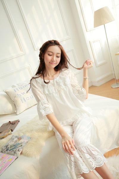 甜美公主宮廷復古蕾絲睡衣女夏白色七分短袖九分褲套裝家居服 -11190030