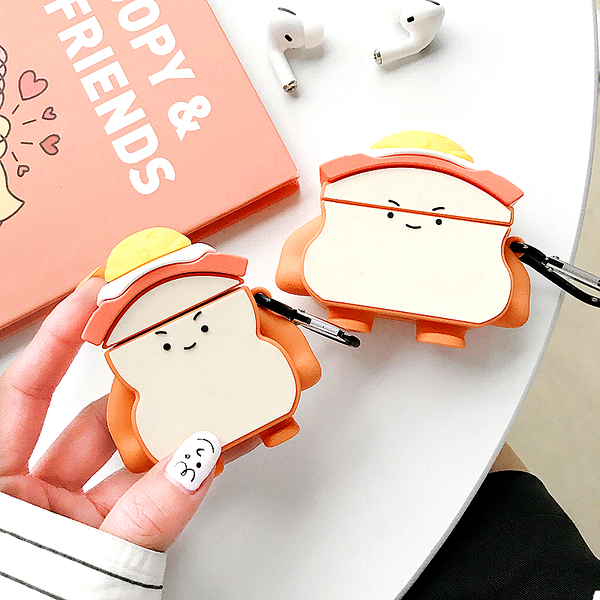 Airpods Pro 專用 1/2代 台灣發貨 [ 可愛吐司蛋公仔 ] 藍芽耳機保護套 蘋果無線耳機保護