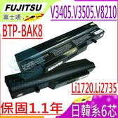 FUJITSU 電池(6芯)-富土 電池- V3405 V3505,V3525,V8210,LI1718 LI1720,LI2727,LI2732,LI2735,BTP-B4K8,BTP-BAK8
