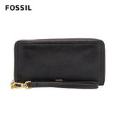 FOSSIL Logan 真皮系列多層拉鍊零錢袋長夾-黑色 SL7831001