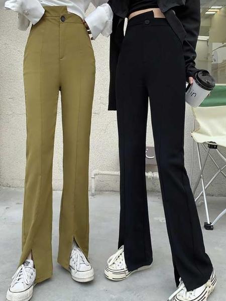 喇叭褲 新款喇叭褲女春夏季高腰顯瘦開叉垂感休閒寬鬆拖地直筒闊腿長褲子 伊蒂斯