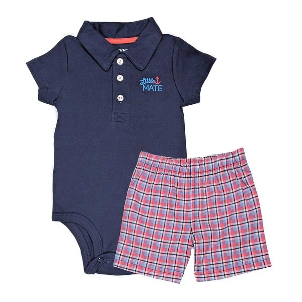 男寶寶套裝二件組 短袖POLO杉包屁衣+短褲 深藍 | Carter s卡特童裝 (嬰幼兒/小孩/baby)