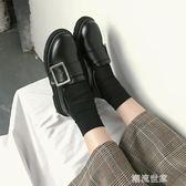 加絨ins小皮鞋女復古chic英倫風秋冬2018新款學生韓版百搭ulzzang『潮流世家』
