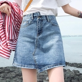 牛仔裙女夏2019新款a字高腰仙女包臀短裙ins超火不規則半身裙