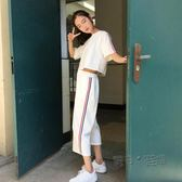 套裝女韓版潮網紅闊腿褲閨蜜裝兩件套bf風寬鬆姐妹學生運動服  魔法鞋櫃