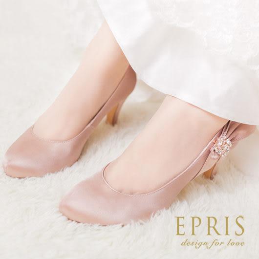 現貨 小中大尺碼新娘婚鞋推薦 純潔雅典娜 蝴蝶結水鑽高跟鞋 22-25.5 EPRIS艾佩絲-高貴金