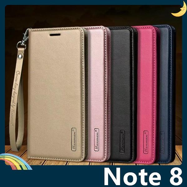 三星 Galaxy Note 8 Hanman保護套 皮革側翻皮套 隱形磁扣 簡易防水 帶掛繩 支架 插卡 手機套 手機殼