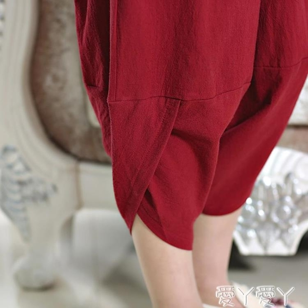 亞麻褲 2021夏季新款燈籠褲亞麻棉麻女長褲七分褲蘿卜褲寬鬆休閒褲子夏裝 愛丫 交換禮物