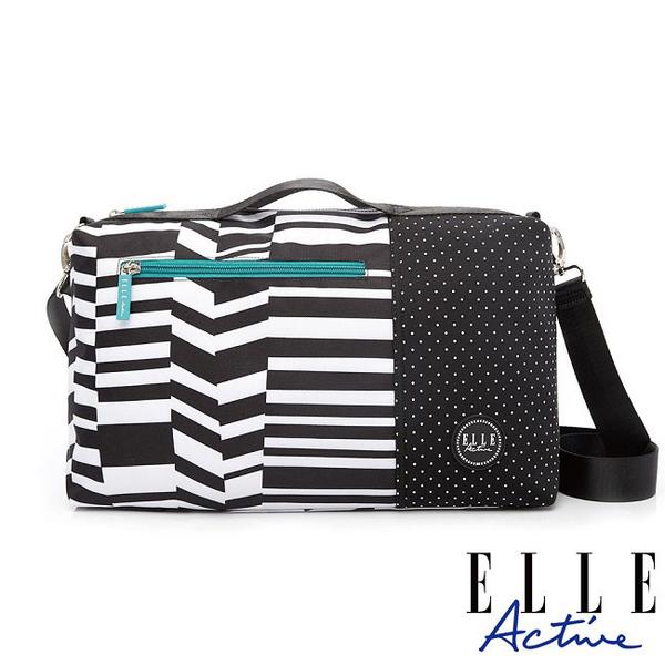 背包族【ELLE active】錯位空間系列-小旅行袋/側背包/公事包/手提包(黑色幾何條紋)