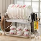 304不銹鋼碗碟架 雙層三層碗盤瀝水架廚房收納置物放碗架子晾碗架