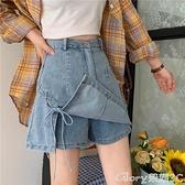 褲裙 秋季韓版2021新款設計感高腰網紅a字顯瘦牛仔短褲假兩件裙褲女裝 榮耀