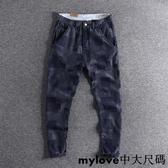 美式復古咔嘰修身直筒青年長褲藍染時尚百搭男士牛仔褲