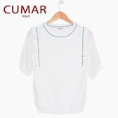 【南紡購物中心】【CUMAR】緞帶設計針織上衣(白色)