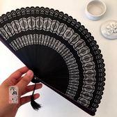 扇子中國風全竹扇子女式鏤空雕花折扇迷你小扇日式和風小巧工藝扇