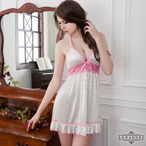 (特價) 大尺碼 Annabery粉紅滾邊奶白綁脖柔緞睡衣 (OS小舖)