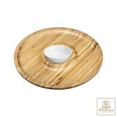 【英國 WILMAX】竹製圓形分隔餐盤/輕食盤附醬料碟組 30.5CM