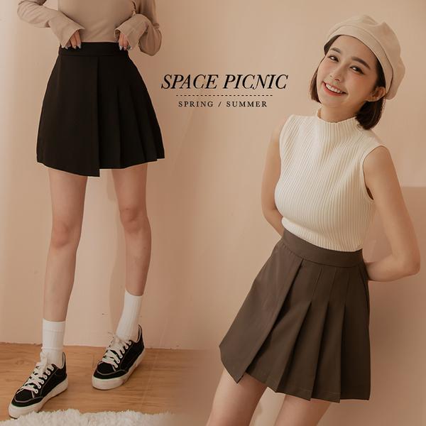 褲裙 Space Picnic|不對稱百摺褲裙-2色(預購)【C21082011】