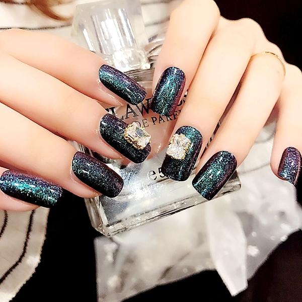 限定款光療感指甲油宇宙星空大鑽石珠寶指甲 魅力可穿戴美甲貼 指尖珠寶24片配外套皮衣風衣