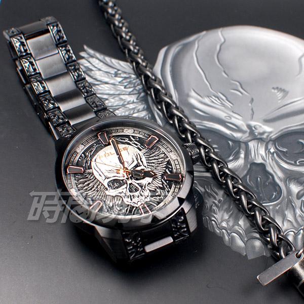 POLICE 義大利精品 個性潮流 骷髏頭 男錶 不銹鋼 防水 手錶 IP黑電鍍 FW19_XMAS SET